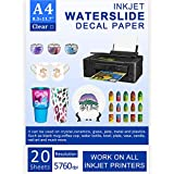 Water Slide Decal Paper Inkjet 20 Sheets A4 Size