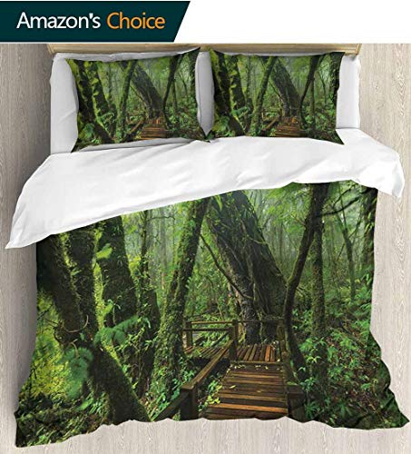 Forest Bedding Sets Duvet Cover Set,Entrance to Deep Dark Evergreen Jungle Magical Surreal Extreme Vivid Plants Jungle Bedspreads Beach Theme Quilt Cover Children Comforter Cover(87