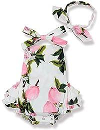 Baby Girl Floral Print Ruffles Romper Summer Clothes + Headband Pink