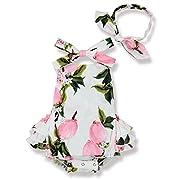 Yoveme Baby Girl Floral Print Ruffles Romper Summer Clothes + Headband(Pink 0-3 Months)