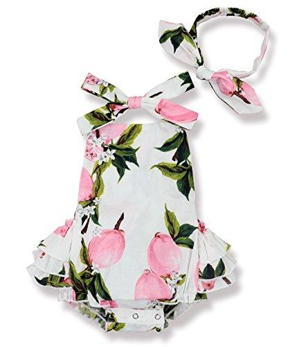 Baby Girl Floral Print Ruffles Romper Summer Clothes + Headband(Pink 3-6 Months)
