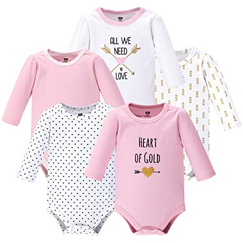 (Hudson Baby Unisex Baby Long Sleeve Bodysuits, Heart Pink 5-Pack, 0-3 Months (3M) )