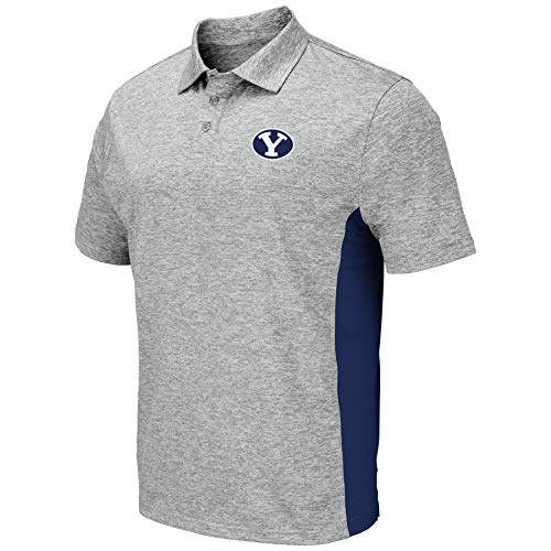 Colosseum Men's NCAA-Drive- Golf/Polo Shirt-Heather Grey-BYU - Byu Office Cougars Home