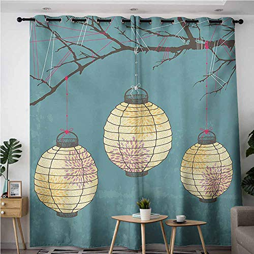 (VIVIDX Indoor/Outdoor Curtains,Lantern Three Paper Lanterns Hanging on Branches Lighting Fixture Source Lamp Boho,for Bedroom Grommet Drapes,W108x108L,Teal Pale Yellow)