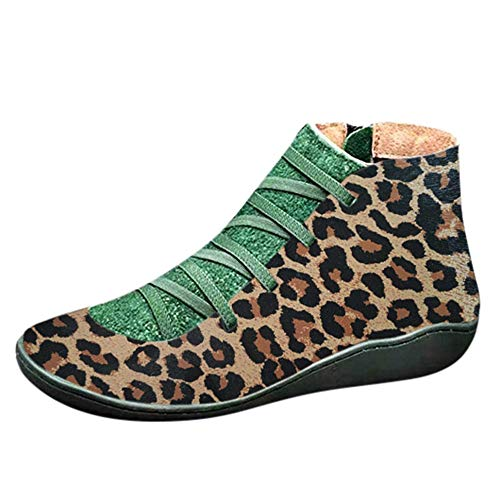 Aniywn Women's Support Boots Leopard Printed Lace Up Side Zipper Platform Booties Casual Retro Shoes(Brown,43) (Retro Knife Block)