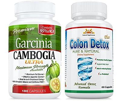 95% HCA 180 Caps GARCINIA CAMBOGIA ULTRA + COLON Detox 40% OFF 3 Months UNINTERRUPTED Supply in SINGLE BOTTLE $ BACK GUARANTEE 45 DAYS RETURN * SAME D