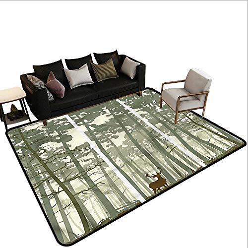 Forest,Anti-Slip Coffee Table Floor Mats 60