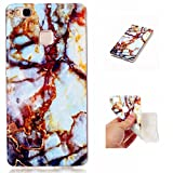 iPhone 7 Plus 5.5 Inch Silicone Gel Case,JIEJIEWYD Shock Proof Soft Durable Scratch Resistant TPU Protective Case Cover Skin Shell Marble Design - blue gold