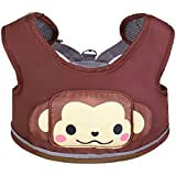 Zicac 3-in-1 Toddler Walking Safety Harness + Portable High Chair + Cart Safety Strap,Cartoon Animal Learning Walkers (Coffee)