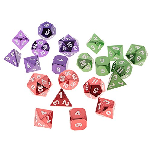MonkeyJack 21x Polyhedral Dice Set Die D4-D20 Alloy for Dungeons and Dragons Party Toys by MonkeyJack