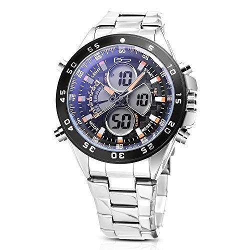 Daniel Steiger Lazer azul acero analógico digital multifunción Hybrid reloj – día fecha mes calendario Digital