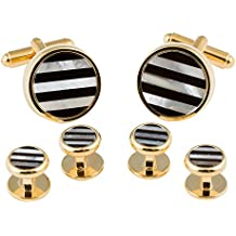 Striped Onyx and Mother of Pearl Gold Cufflinks and Studs Tuxedo Formal Set