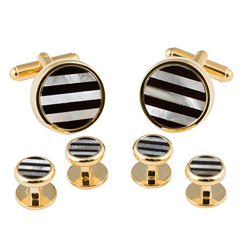 Striped Onyx and Mother of Pearl Gold Cufflinks and Studs (Studs Don't Spin)