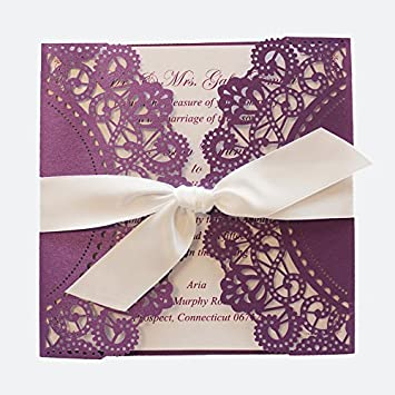 amazon com purple wedding invitation cards with white ribbon bow