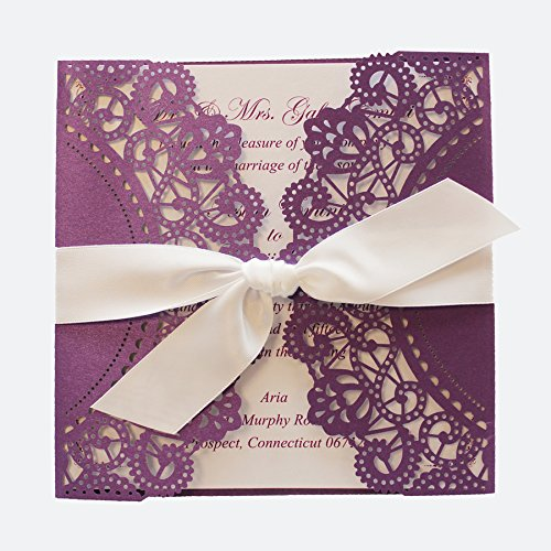Purple Wedding Invitation Cards with White Ribbon Bow (50) by After (Image #5)