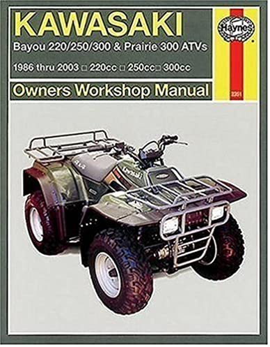 kawasaki bayou 220 250 300 prairie 300 atvs 1986 2003 haynes rh amazon com kawasaki atv repair manual kawasaki atv service manual free download