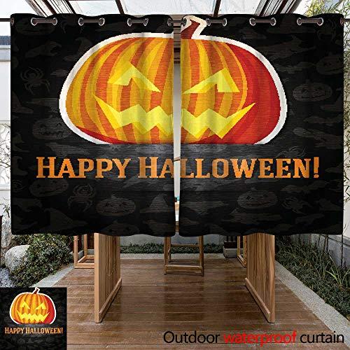 RenteriaDecor Outdoor Curtain for Patio Happy Halloween Greeting Card with Bright Jack o Lantern Pumpkin W96 x L72 -