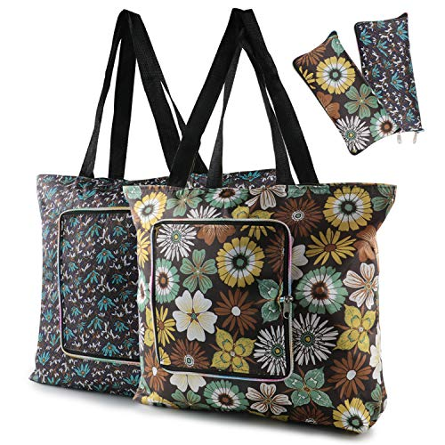 Reusable Grocery Bags 2 Packs Heavy Duty Market Bags with Sturdy Zipper ECO-Friendly Foldable Vintage Floral Grocery Tote Bags for Travel Holiday Washable Durable Reusable Shopping ()