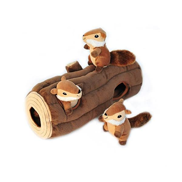 ZippyPaws – Woodland Friends Burrow, Interactive Squeaky Hide and Seek Plush Dog Toy – Chipmunks 'n Log