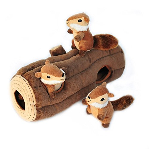 ZippyPaws - Woodland Friends Burrow, Interactive Squeaky Hide and Seek Plush Dog Toy - Chipmunks n Log