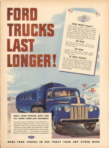 Ford trucks last longer! Oil tanker truck ad 1947