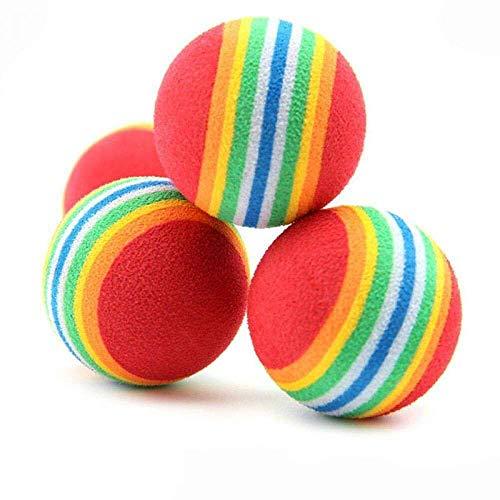 maxgoods 50 STK Haustier Hunde Katze Spielbälle, Weichschaum Regenbogen Spielzeuge