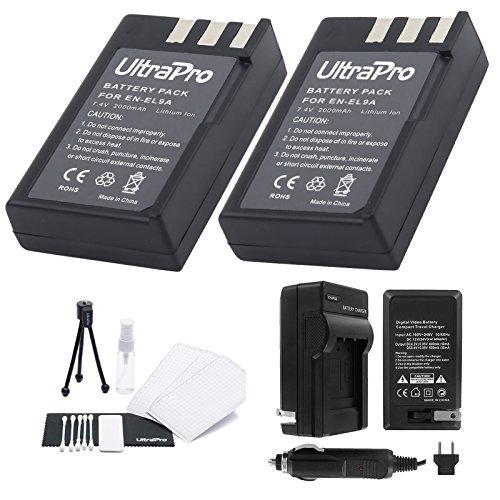 EN-EL9a Battery 2-Pack Bundle with Rapid Travel Charger and UltraPro Accessory Kit for Select Nikon Cameras Including D5000, D3000, D60, D40x, and D40