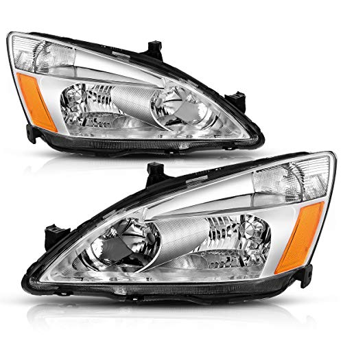 Headlight Assembly for 2003 2004 2005 2006 2007 Honda Accord Replacement Headlamp,Chrome Housing Clear Lens