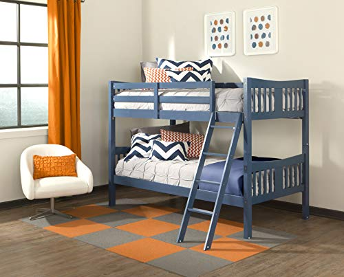 Storkcraft Caribou Solid Hardwood Twin Bunk Bed, Navy Twin Bunk Beds for Kids with Ladder and Safety Rail from Storkcraft