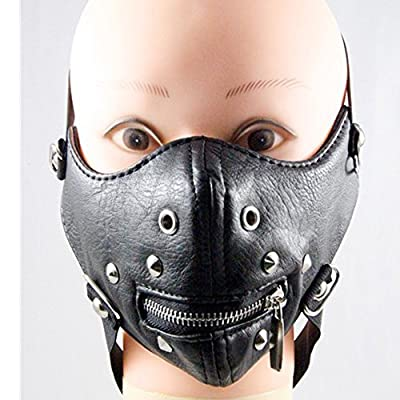 ZSWELL Zip Metal Studded Steampunk Leather Mask Biker Men Half Face Mask Airsoft Wind Cool Punk Rivets Black Masquerade Leather Mask