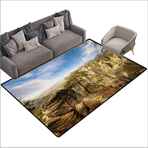 Oversized Floor Rug Nature Wonders of The World National Park Rock Formation Czech Image Suitable for Outdoor and Indoor use W78 xL94 Sky Blue Tan Cream Olive Green]()