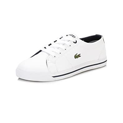3fa93de36df773 Lacoste Children Boys Riberac Trainers in White Navy- Lace Fastening ...