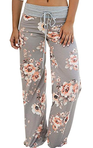 AMiERY Pajamas for Women Women's High Waist Casual Floral Print Drawstring Wide Leg Palazzo Pants Lounge Pajama Pants (Tag M (US 6), Light Grey)