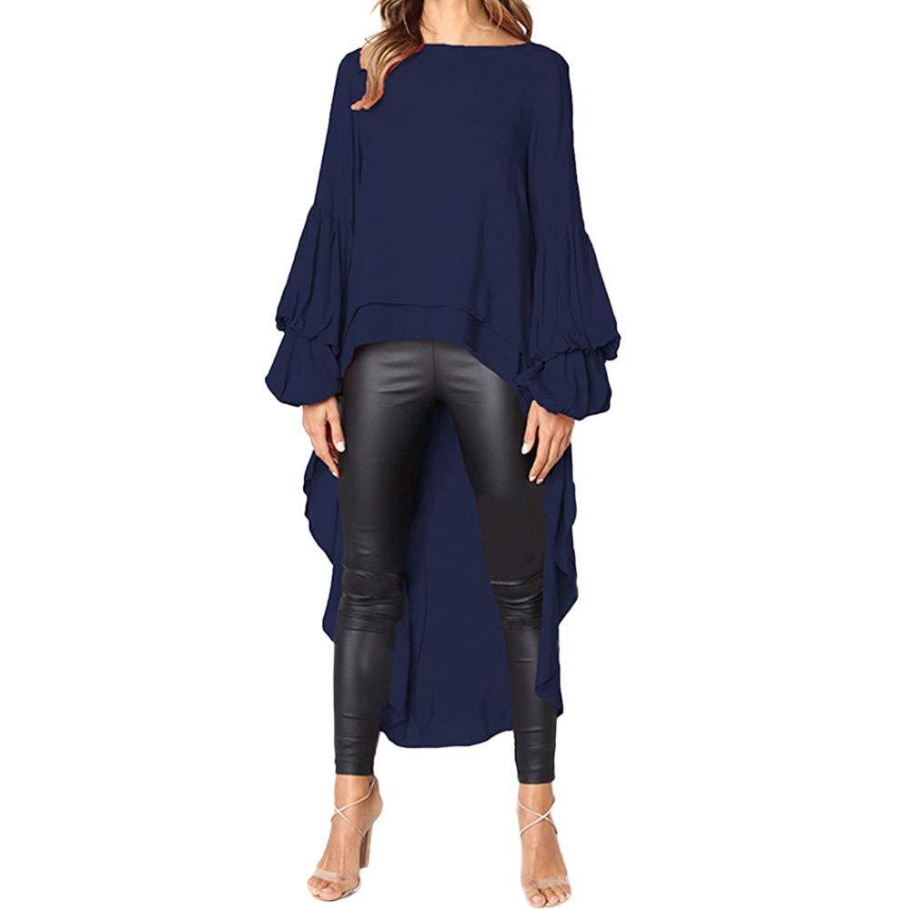 DIKEWANG Women Irregular Ruffles Shirt Solid Irregular O-Neck Ruffles Long Sleeves Pure Colour Tops Loose Blouse Sweatshirt Pullovers Tops Blouse Sweater Top