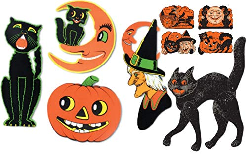 Halloween Decorations Bundle: Includes (1) Jointed Scratch Cat, (1) 4-Pack Vintage Halloween Cutouts, and (1) Pkgd Halloween Cutouts (4/Pkg)