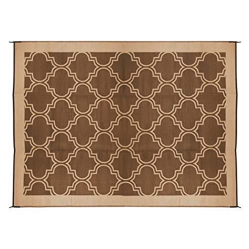Camco Large Reversible Outdoor Patio Mat - Mold and Mildew Resistant, Easy to Clean, Perfect for Picnics, Cookouts, Camping, and The Beach (6' x 9', Brown Lattice Design) (42877) (Patio Inexpensive Outdoor Rugs)