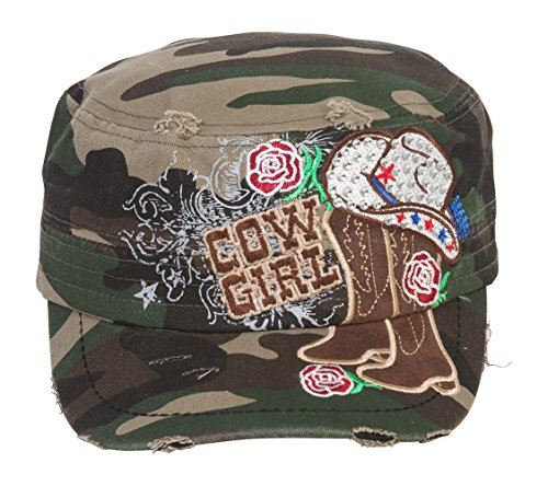 TopHeadwear Cowgirl Boots and Hat Distressed Cadet Cap - Camo ()