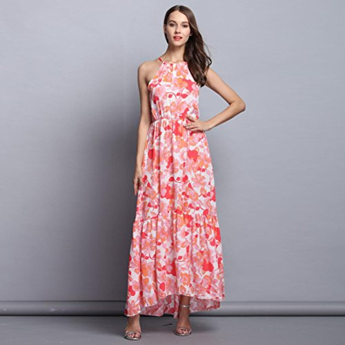 Sommerkleider Damen VENMO Chiffon Halter ärmellos Damen Blumen gedruckt unregelmäßig Lange Strandkleid