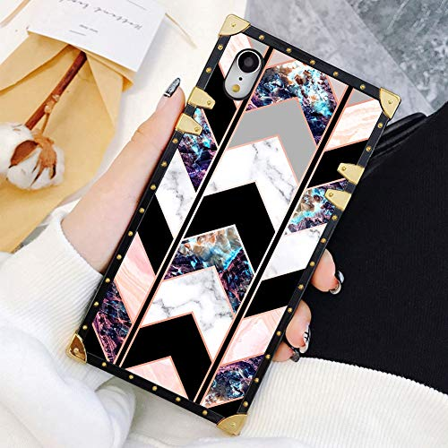 Square Case Compatible iPhone XR Shiny Rose Gold Wave Geometric Marble Luxury Elegant Soft TPU Shockproof Protective Metal Decoration Corner Back Cover Case iPhone XR Case 6.1 Inch