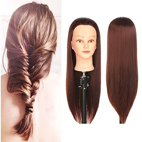 """Mannequin Head,Professional Beauty 30"""" Long Hair no Shoulder have Makeup Model Head Professional Makeup Modeling with Hair Training Dummy Head Mannequin Manikin (COLOR # 4)"""