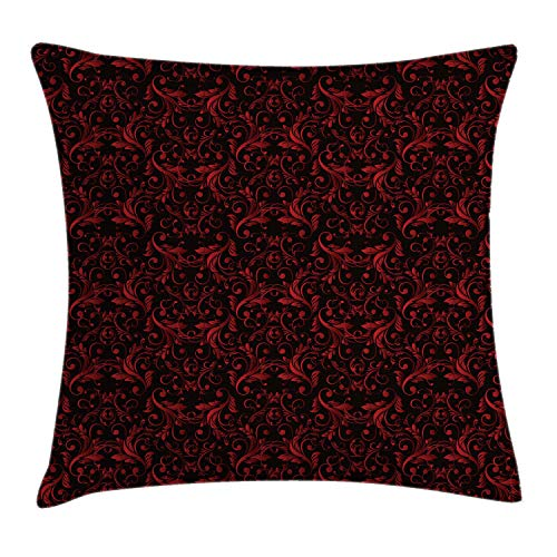 """Ambesonne Victorian Throw Pillow Cushion Cover, Vintage Floral Design with Ivy Swirls Flowers Design Image Print, Decorative Square Accent Pillow Case, 16"""" X 16"""", Charcoal Ruby"""