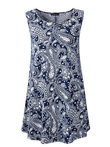 Veranee Women's Sleeveless Swing Tunic Summer Floral Flare Tank Top (Medium, 6-26) by Veranee (Image #5)