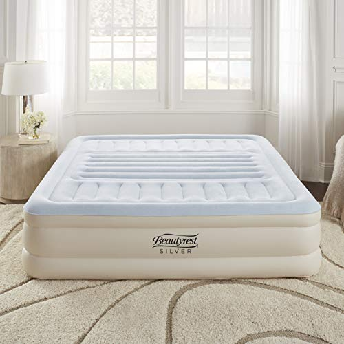 "Simmons Beautyrest Lumbar Supreme Adjustable Tri-Zone Support Air Bed Mattress with Built-in Pump, Silver, 18"" King"