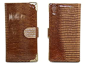 Youvogue Luxury Bling Rhinstones Magnet Flip Lizards Stripe Leather Wallet Protector Case for Sony Xperia Z1 Compact (Brown)