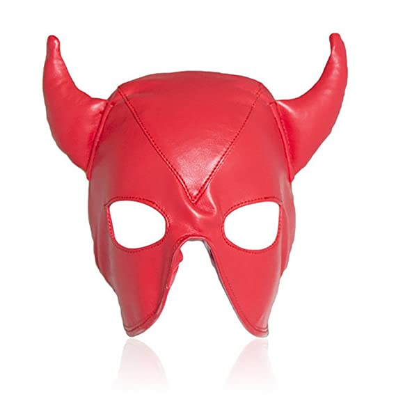 Amazon.com: SQY Devil Horns Half Face Mask Head Faux Leather Face Mask Full Face Party Props Bondage Hood Mask,Black: Sports & Outdoors