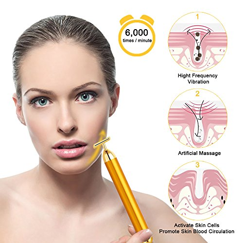 Tosun 24k Golden Facial Massager Beauty Bar, High Frequency Vibration Face Massage Tool for Face Lift, Anti-Wrinkles,Skin Tightening and Eliminate Dark Circles by Tosun (Image #2)