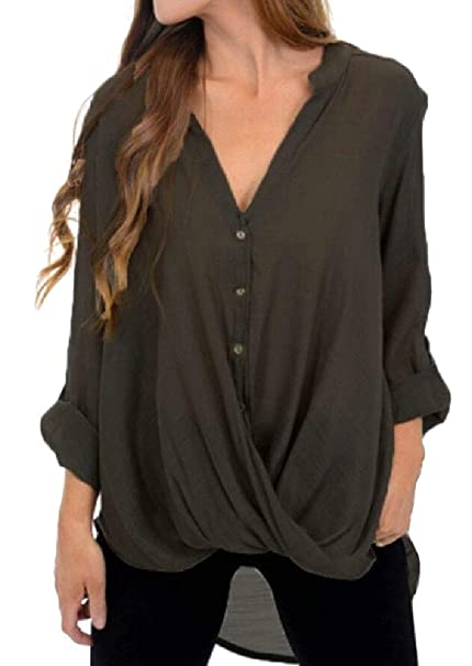 588f6a02604835 M&S&W Women's Sexy Deep V-Neck Blouse Pleated Wrap Front Surplice Club Top:  Amazon.ca: Clothing & Accessories