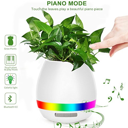Music Flower Pot, HoverFun Play Piano On A Real Plant, Smart Colorful LED Night Light Round Plant Pots, Bluetooth Wireless Speaker For Office Home Decor (Without Plants) (white)