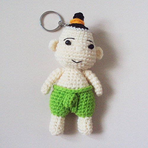 Thailand National Costume Men And Women (Agility Thai Boy in Green National Costume Cute Doll Knitting Yarn Crochet Key Chain, Key Ring)