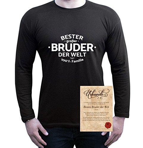 Langarm-Fun-T-shirt Top Geschenk mit GRATIS Urkunde - Bester großer Bruder der Welt Farbe: schwarz Gr: L